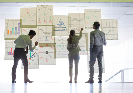 Business people working with charts and graphs on glass wallの写真素材 [FYI02155072]