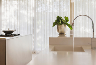 Vegetables by sink in modern kitchenの写真素材 [FYI02155386]