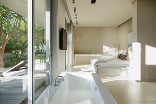 Bathtub in modern master bedroomの写真素材 [FYI02155652]