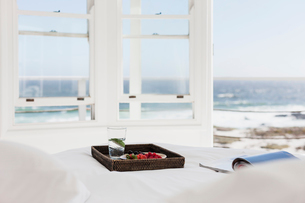 Breakfast tray and magazine on bed overlooking oceanの写真素材 [FYI02156163]