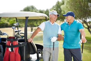 Senior men laughing next to golf cartの写真素材 [FYI02156212]