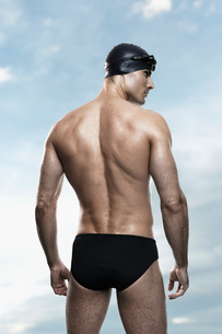 Swimmer wearing cap and gogglesの写真素材 [FYI02156454]