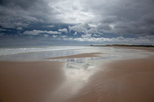 Clouds reflected in water on beachの写真素材 [FYI02156491]