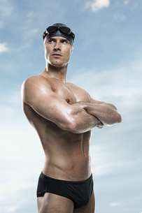 Swimmer wearing cap and gogglesの写真素材 [FYI02156702]