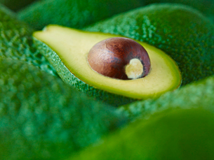 Extreme close up of sliced Pinkerton avocadoの写真素材 [FYI02157250]