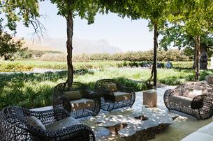 Armchairs and sofa on modern patio overlooking vineyardの写真素材 [FYI02157538]