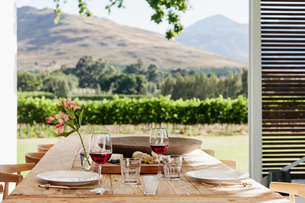 Dining table and chairs on luxury patio overlooking vineyardの写真素材 [FYI02157899]