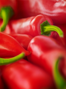 Extreme close up of red chili peppersの写真素材 [FYI02158599]