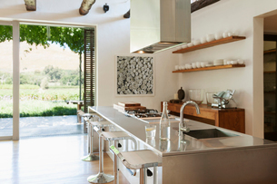Modern kitchen overlooking patio and vineyardの写真素材 [FYI02158911]