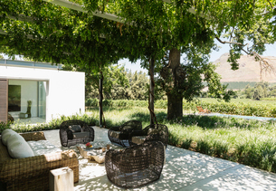Fire pit and armchairs on luxury patio overlooking vineyardの写真素材 [FYI02159746]