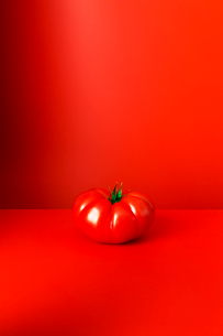 Tomato sitting on red counterの写真素材 [FYI02160723]