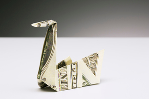 Origami swan made of dollar bill on counterの写真素材 [FYI02161882]