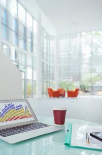 laptop on work desk in office buildingの写真素材 [FYI02161894]