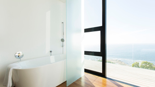 Bathtub and sliding glass door of modern houseの写真素材 [FYI02162599]