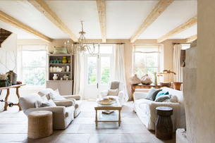 Sofas and coffee table in rustic living roomの写真素材 [FYI02163091]