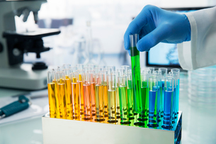 Scientist picking test tube out of rack on counter in labの写真素材 [FYI02163254]