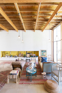 Sofas and coffee tables in rustic living roomの写真素材 [FYI02163397]