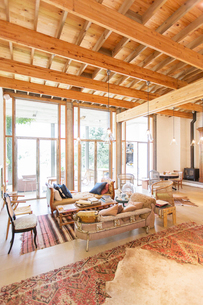 Sofas and coffee table in rustic living roomの写真素材 [FYI02163617]