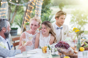 Young couple and their guests sitting at table during wedding reception in gardenの写真素材 [FYI02164055]