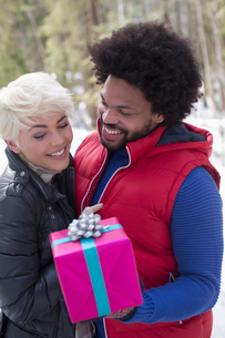 Couple with Christmas giftの写真素材 [FYI02164168]