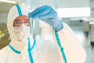 Scientist in clean suit examining sample in test tube in laboratoryの写真素材 [FYI02164453]