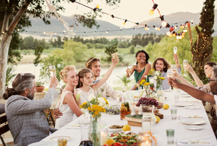 Young couple and guests toasting with champagne during wedding reception in domestic gardenの写真素材 [FYI02165349]
