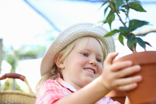 Girl wearing straw hat holding potted plantの写真素材 [FYI02165808]