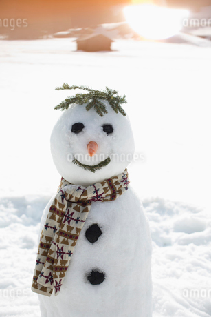 Snowman in sunny fieldの写真素材 [FYI02166383]