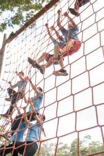 People climbing nets on boot camp obstacle courseの写真素材 [FYI02166604]