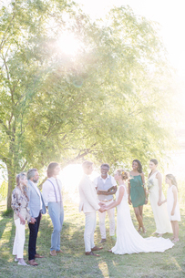 Young couple and guests during wedding ceremony in domestic gardenの写真素材 [FYI02166625]