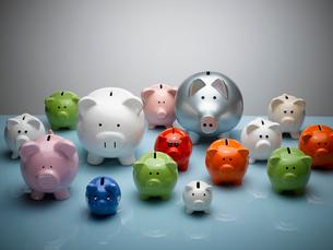 Multicolor piggy banks still lifeの写真素材 [FYI02166674]