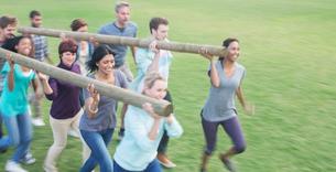 Teams racing with logs in fieldの写真素材 [FYI02166708]