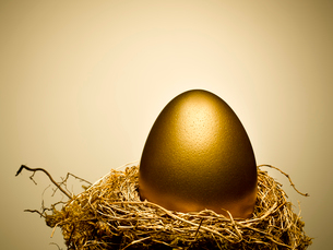 Golden egg on gold nest still lifeの写真素材 [FYI02166735]