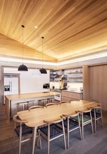 Illuminated slanted wood ceiling over kitchenの写真素材 [FYI02167448]