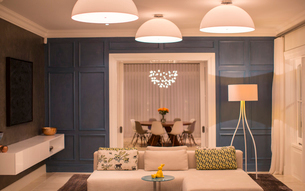 Illuminated domed lights over home showcase living roomの写真素材 [FYI02168065]