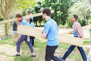 Volunteers carrying wood planksの写真素材 [FYI02168112]