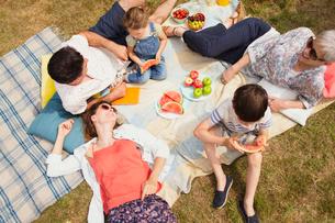 Overhead view multi-generation family enjoying summer picnicの写真素材 [FYI02168564]