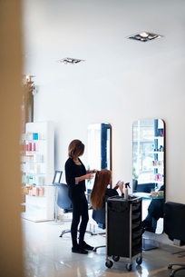 Hairdresser working with customer in hair salonの写真素材 [FYI02168937]