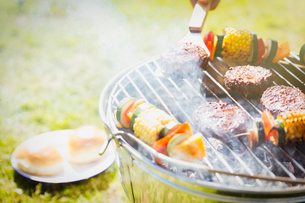 Hamburgers and vegetable skewers on barbecue grillの写真素材 [FYI02169062]