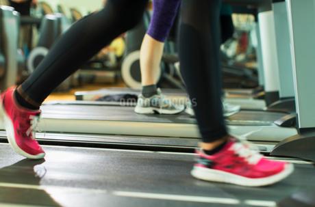 Woman's legs running on treadmill at gymの写真素材 [FYI02170164]