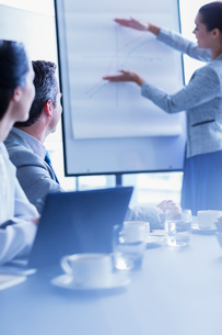 Businesswoman explaining graph at flip chart in conference room meetingの写真素材 [FYI02170472]