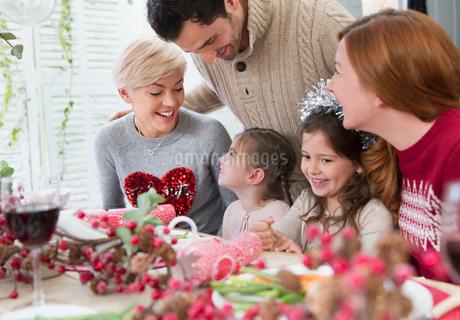 Smiling family at Christmas dinnerの写真素材 [FYI02170492]
