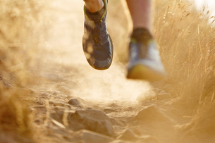 Close up of runner's feet on dirt trailの写真素材 [FYI02170502]
