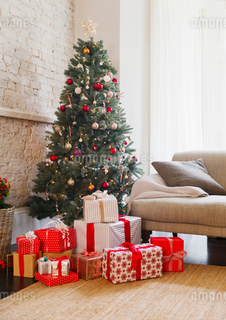 Christmas tree and gifts in living roomの写真素材 [FYI02170787]