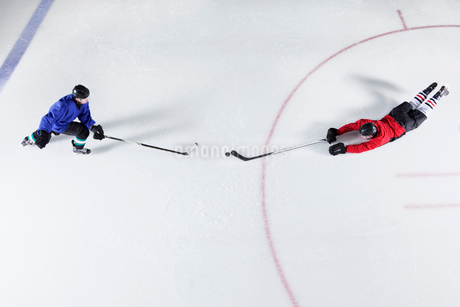 Overhead view hockey players diving for puck on iceの写真素材 [FYI02171261]