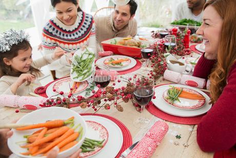 Family enjoying Christmas dinnerの写真素材 [FYI02171355]