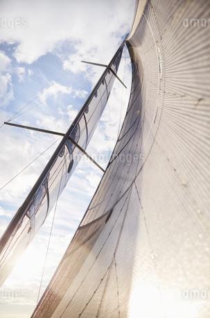 Sailboat sail against sunny skyの写真素材 [FYI02171360]