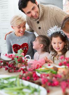 Family enjoying Christmas dinnerの写真素材 [FYI02171376]