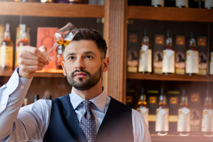 Serious well-dressed bartender examining whiskeyの写真素材 [FYI02172028]