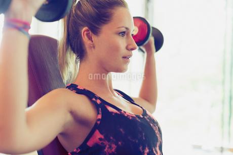 Focused woman doing dumbbell shoulder pressesの写真素材 [FYI02172162]